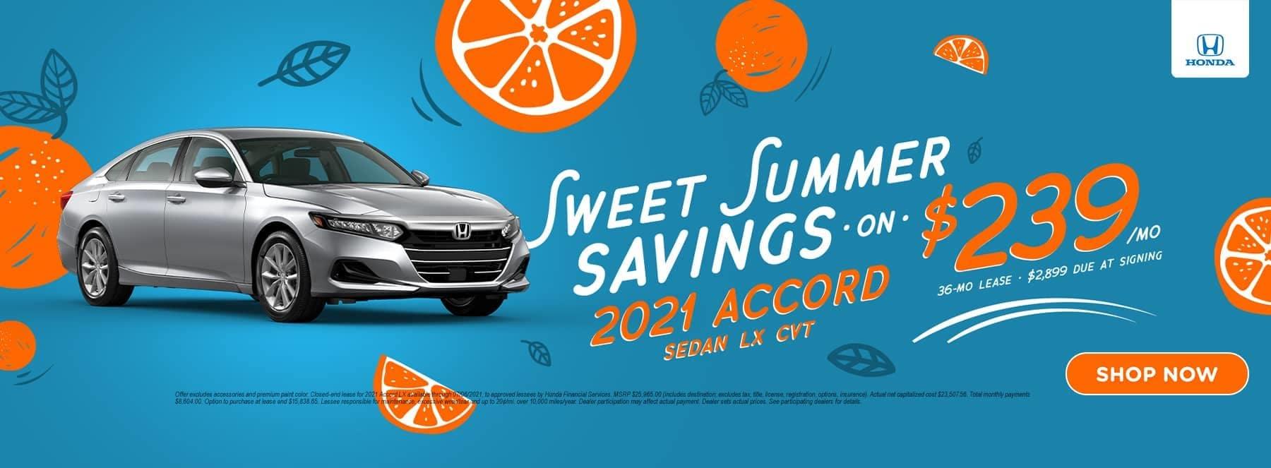 Sweet Summer Savings 2021 Accord Sedan LX CVT