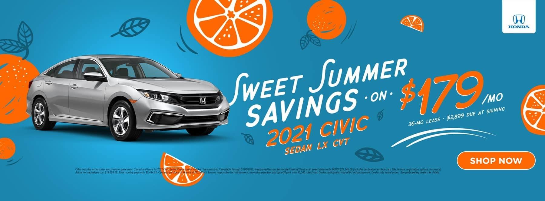 Sweet Summer Savings 2021 Civic Sedan LX CVT