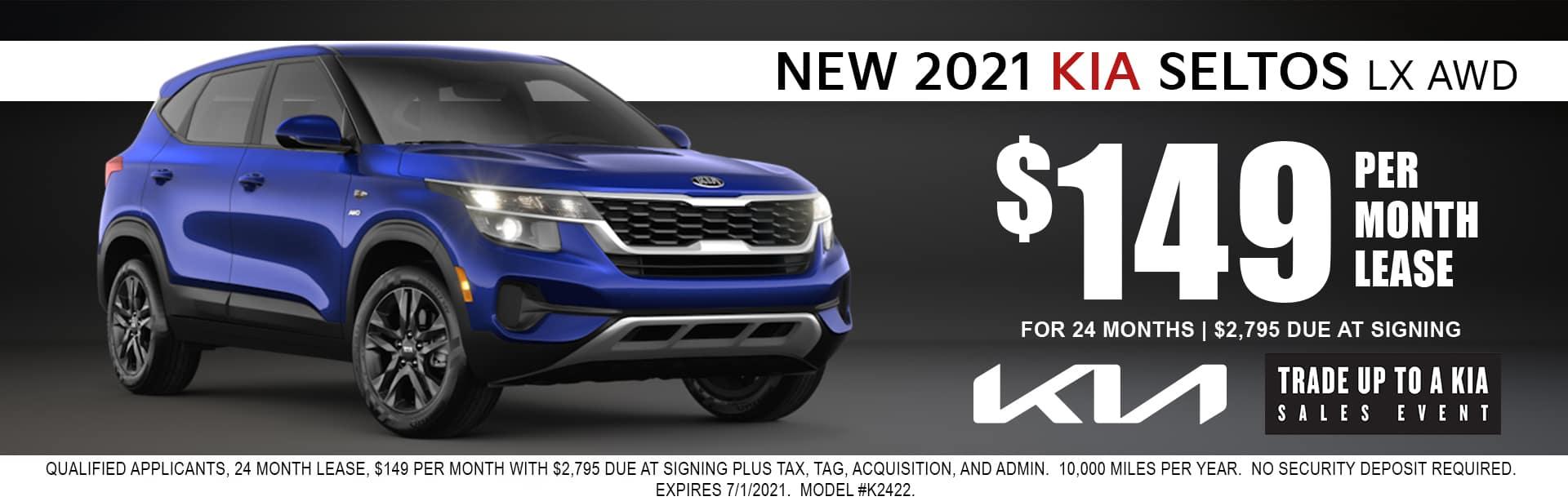 2021 Kia Seltos lease for $149/mo