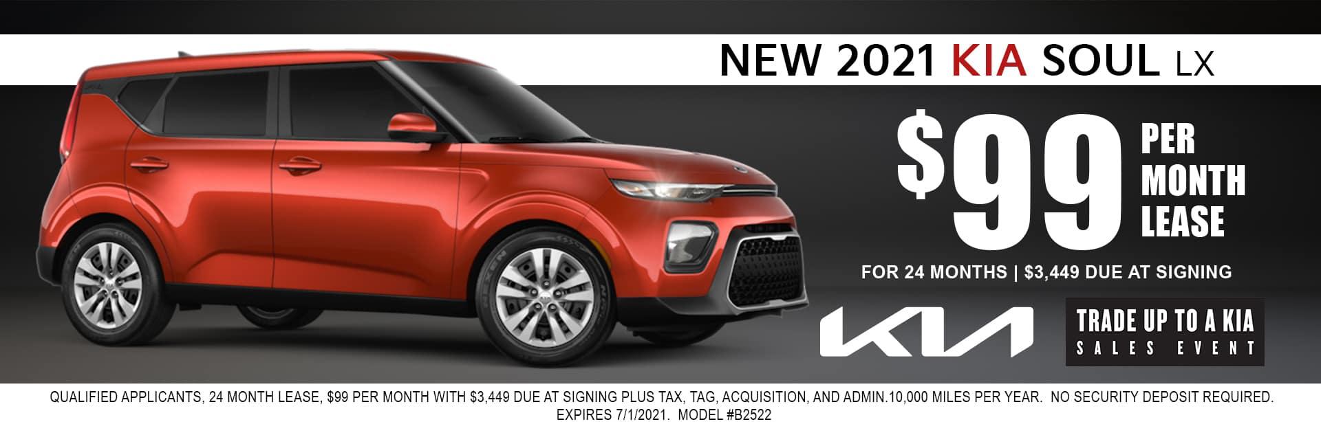 2021 Kia Soul lease for $99/mo