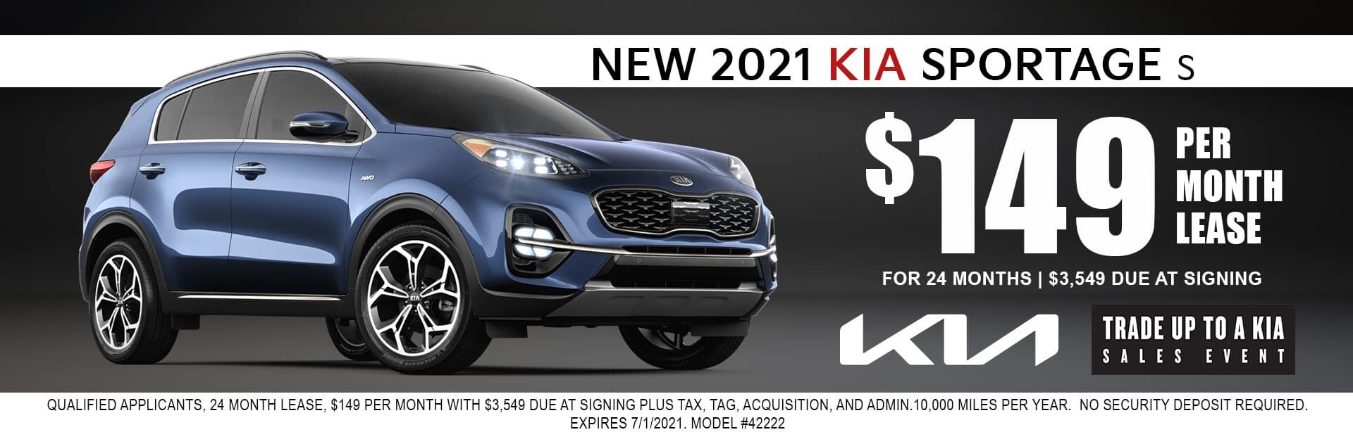 2021 Kia Sportage lease for $149/mo