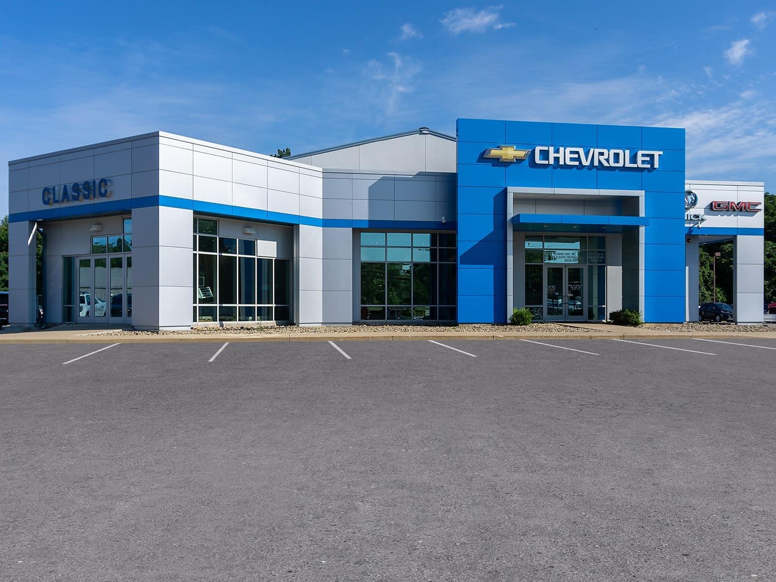 An exterior shot of a Chevrolet dealership.
