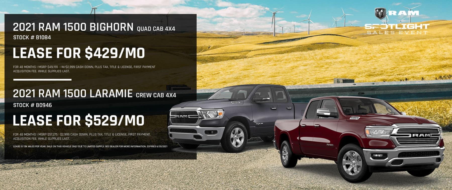 2021 RAM 1500 Bighorn Quad Cab 4x4 Stock # B1084 | 2021 RAM 1500 Laramie Crew Cab 4x4 Stock # B0946