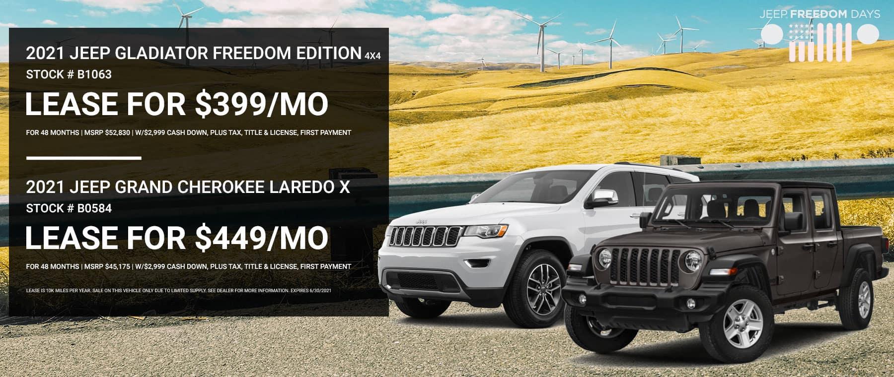 2021 Jeep Grand Cherokee Laredo X Stock # B0584   2021 Jeep Gladiator Freedom Edition 4x4 Stock # B1063