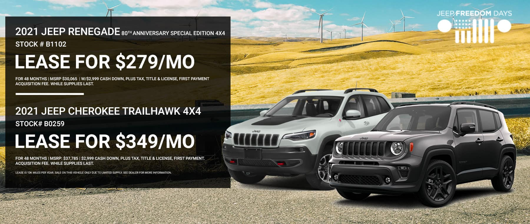 2021 Jeep Renegade 80th Anniversary Special Edition 4x4 Stock # B1102 | 2021 Jeep Cherokee Trailhawk 4x4 Stock# B0259