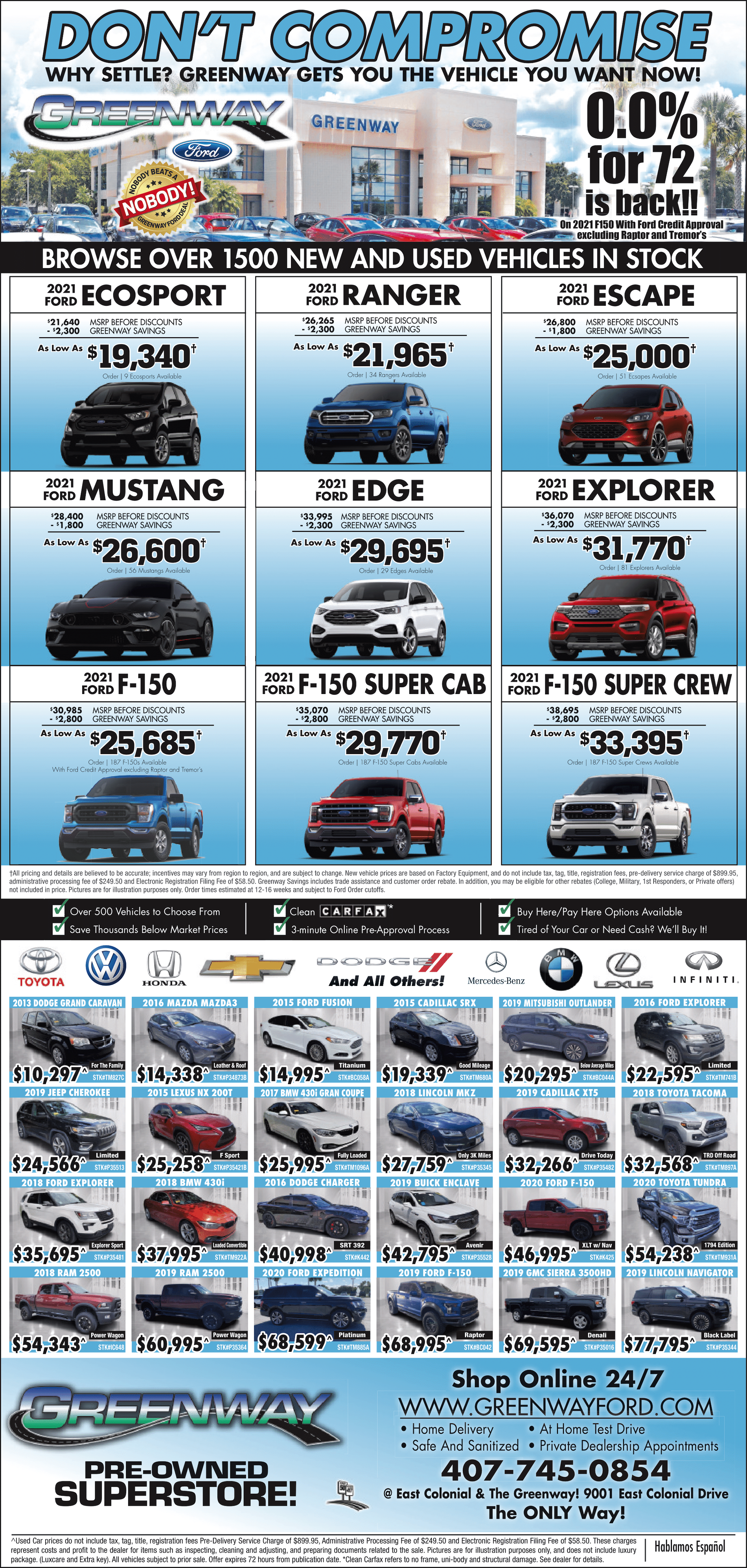 Don't Compromise - Browse over 1500 New and Used vehicles in stock