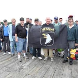 veteran's gathered on pier