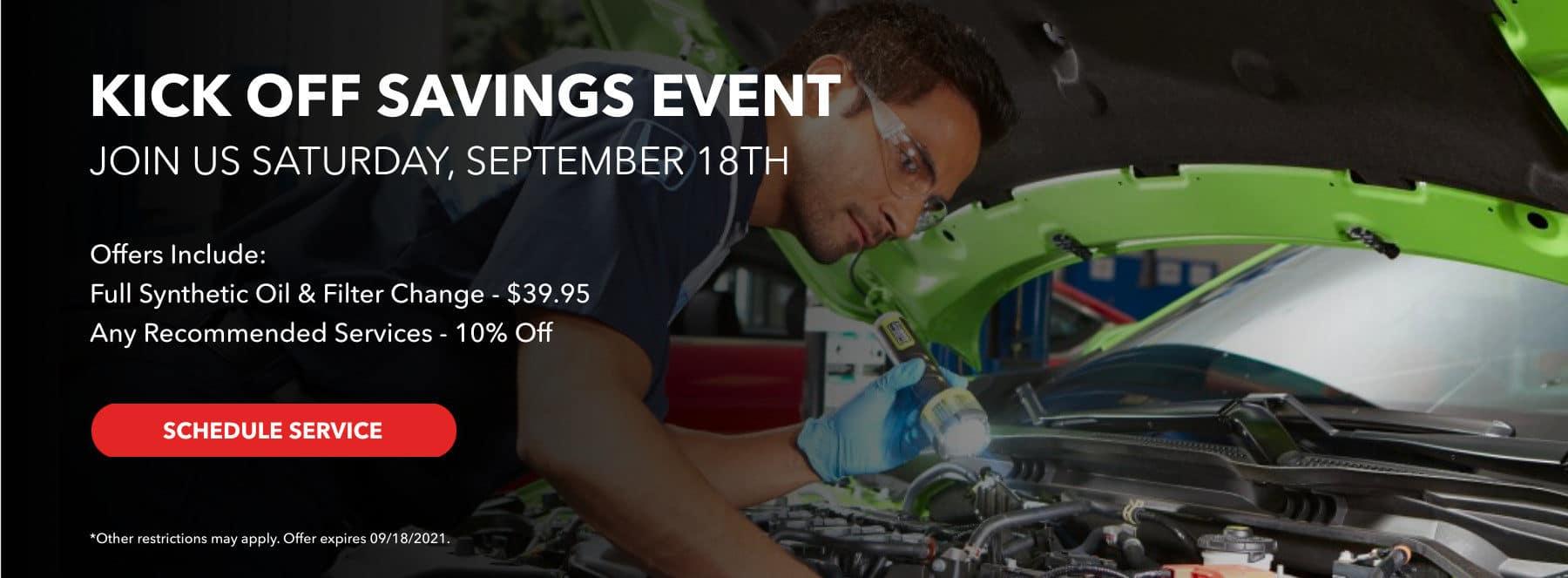 Kick Off Savings Event