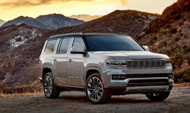 2022 Jeep Grand Wagoneer exterior mountainside during sunset