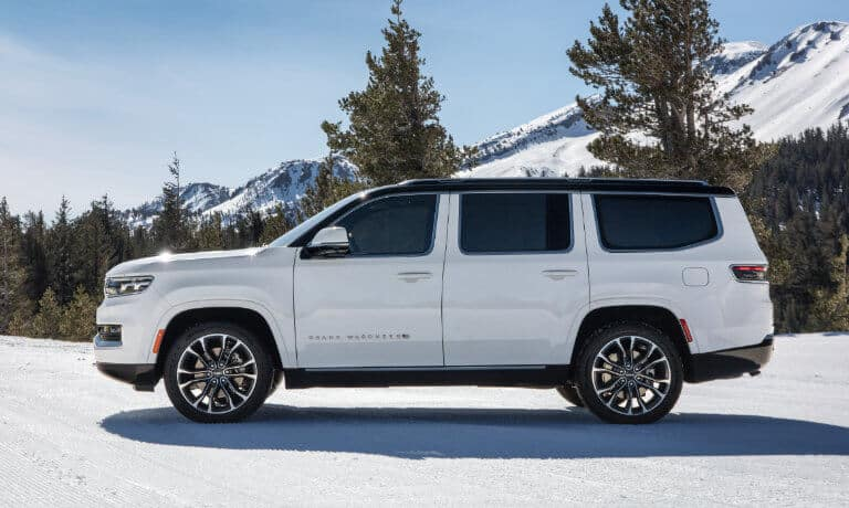 2022 Jeep Grand Wagoneer exterior in snow
