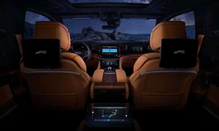 2022 Jeep Grand Wagoneer interior front at night