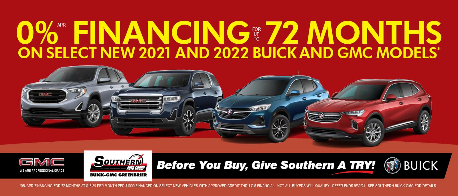 Greenbrier Buick GMC 0% for 72 Months