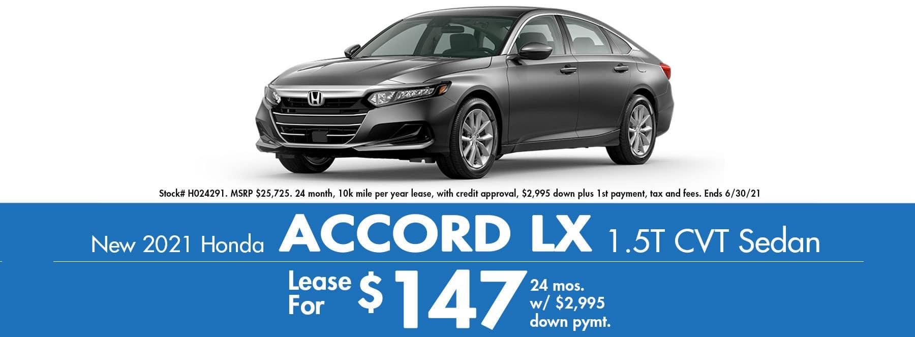 2021 Honda Accord LX $147 / Month!
