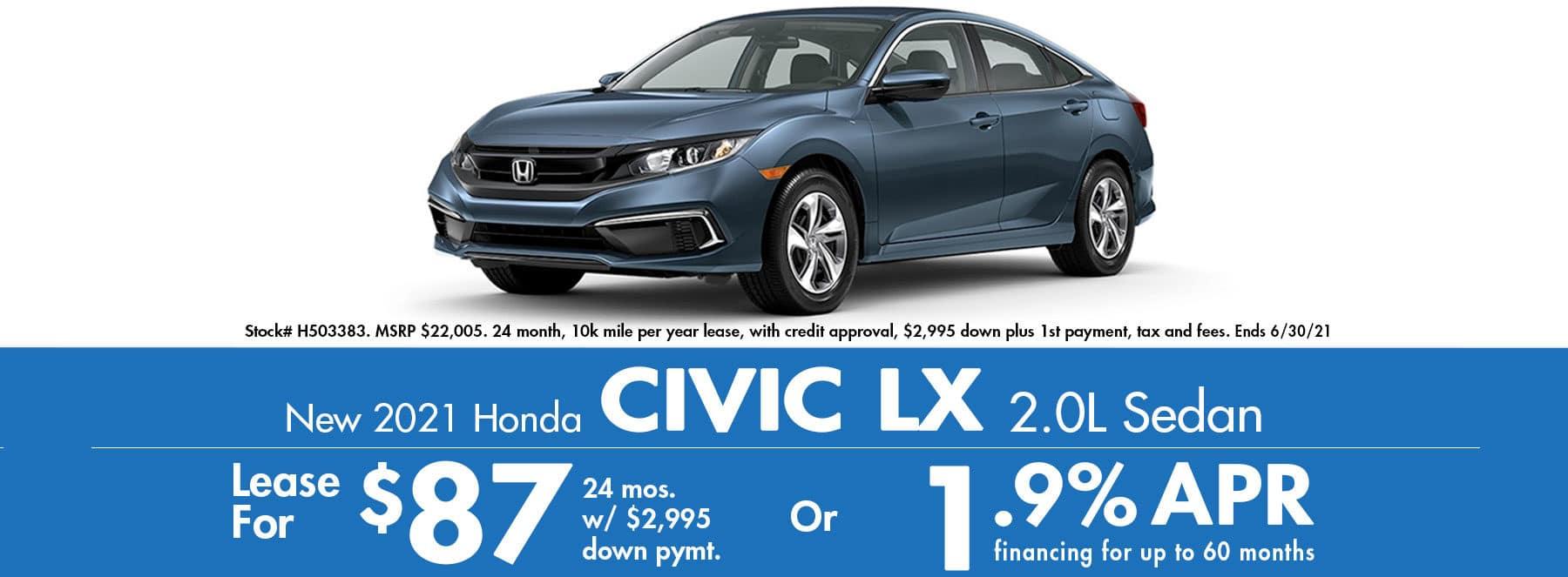 2021 Honda Civic LX CVT $87 / month or 0% APR!