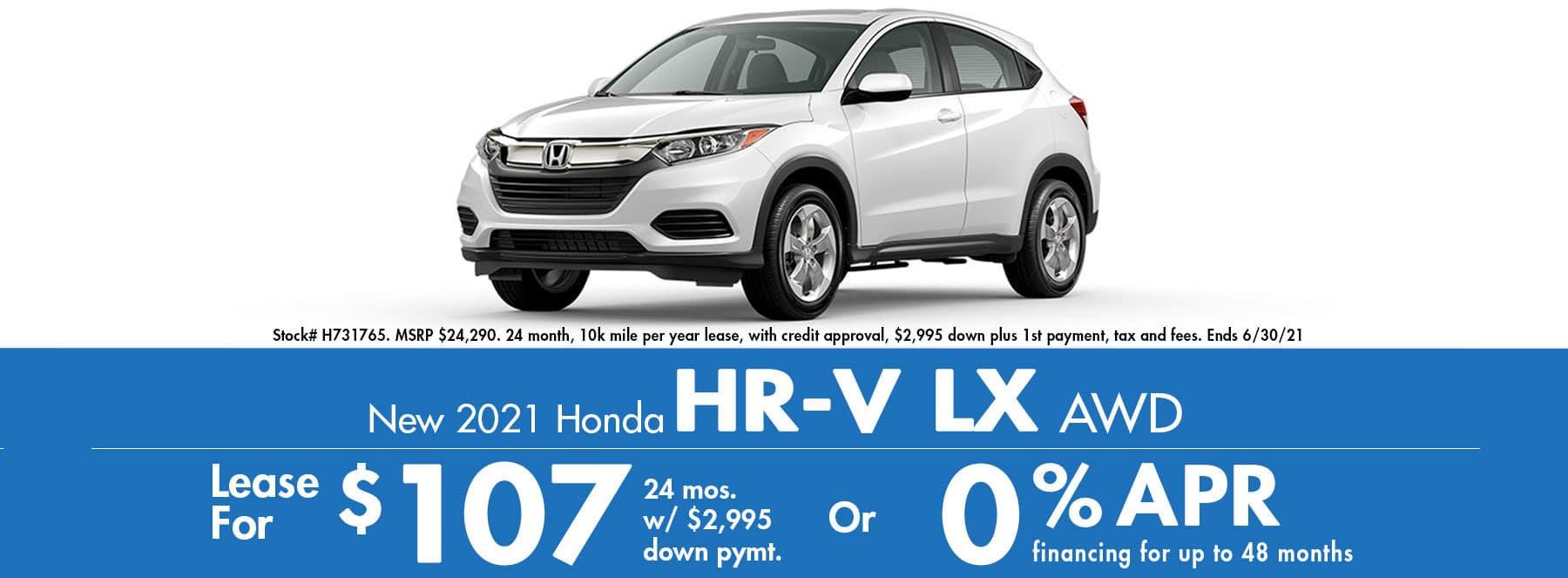 2021 Honda HR-V LX AWD $107 / Month or 0% APR!