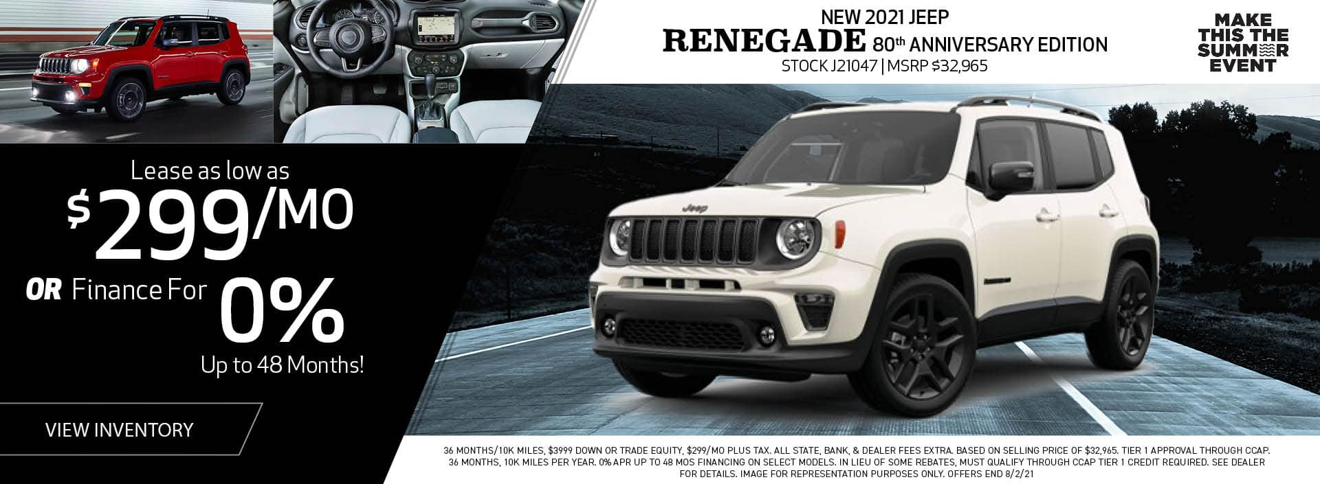 New 2021 Jeep Renegade 80th Anniversary Edition