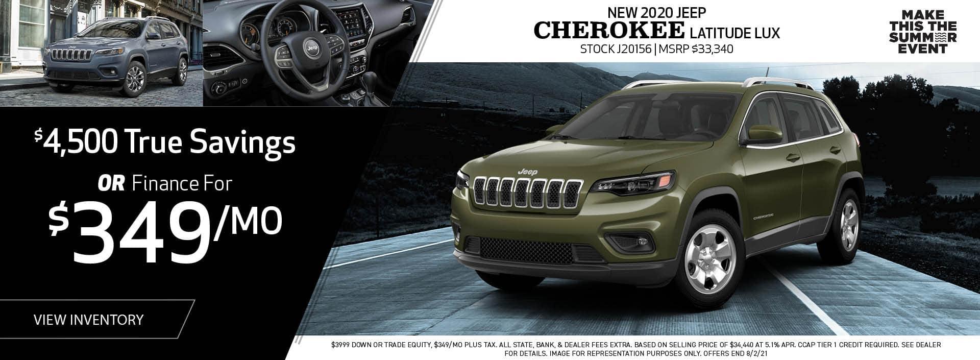 New 2020 Jeep Cherokee Latitude Lux