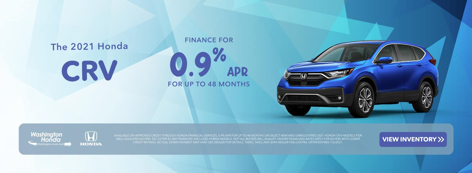 The 2021 Honda CR-V Finance for 0.9% for up to 48 Months