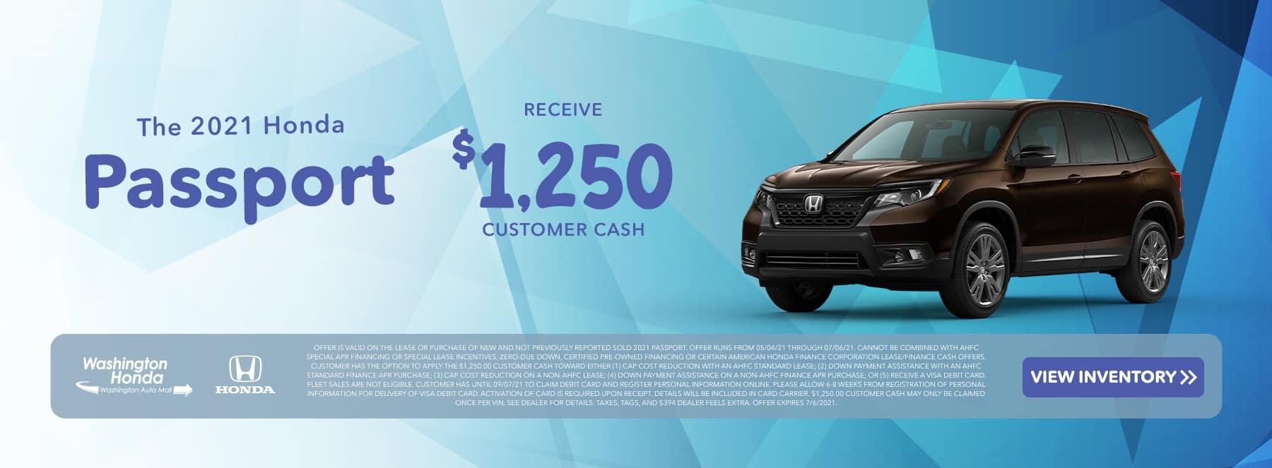 The 2021 Honda Passport Receive $1,250 Customer Cash